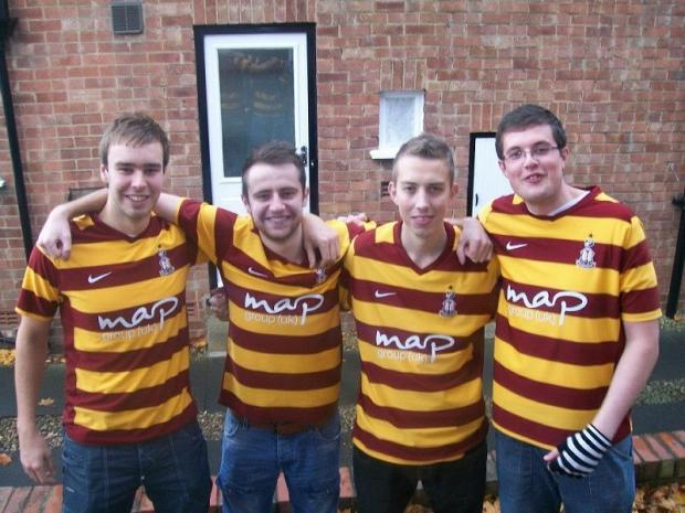 City fans (from left) Danny Baracskay, Steven Horsfall, Ross Elliott and James Knox