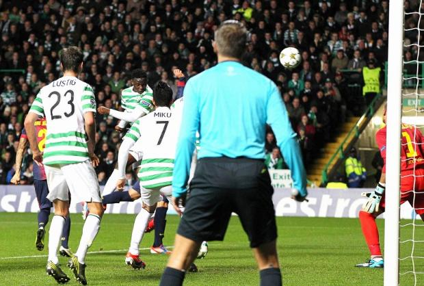 Victor Wanyama heads Celtic in front during their glory night at Parkhead