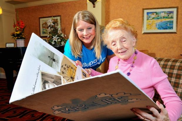 Siobhan Drane, Bupa Care Homes community and partnerships manager, and resident Norah Covill, 91