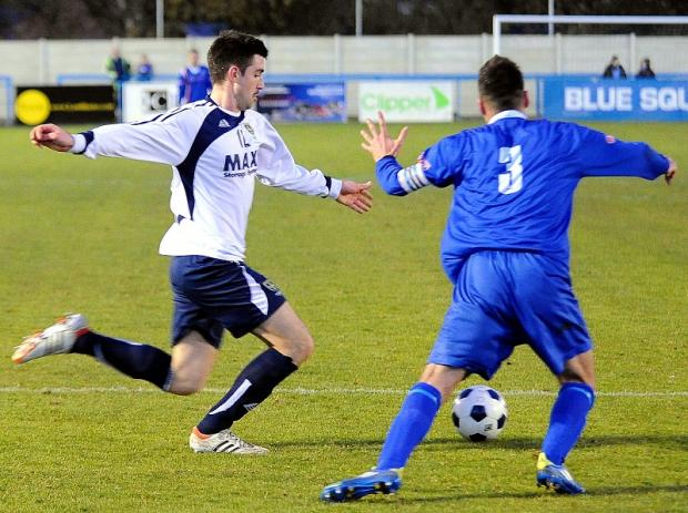 Guiseley's Nicky Boshell shoots during their FA Trophy romp against Whitby Town at the weekend. Now Guiseley hope to progress in the FA Cup