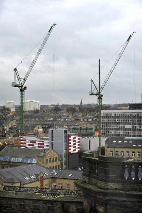 Bradford College cranes will form part of a light show