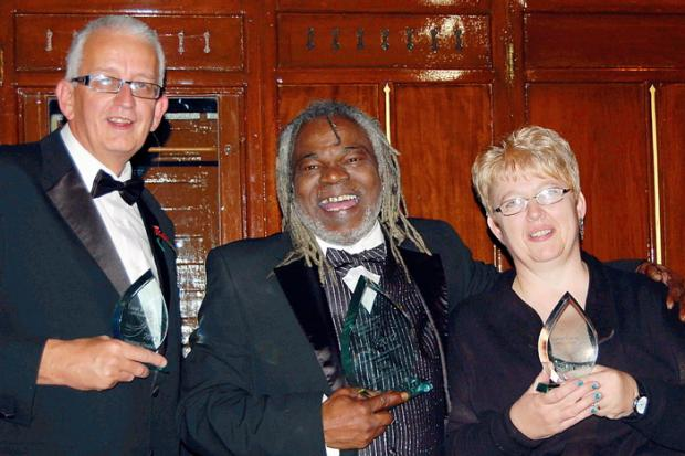 Rupert Campbell, centre, with Richard Asbridge and Gillian Parsons at the awards