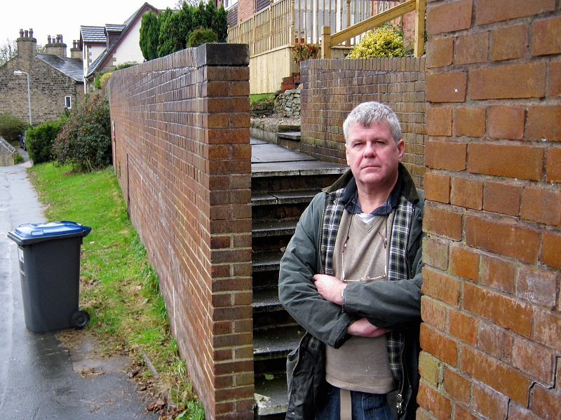 Rob Higgie beside the steps used by drug addicts