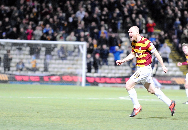 Gary Jones celebrates scoring what proved to be City's winning goal against Plymouth