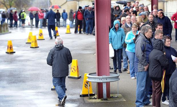 City can expect similar scenes to these ahead of the Arsenal game as fans prepare to queue for their tickets to the Aston Villa semi-final matches