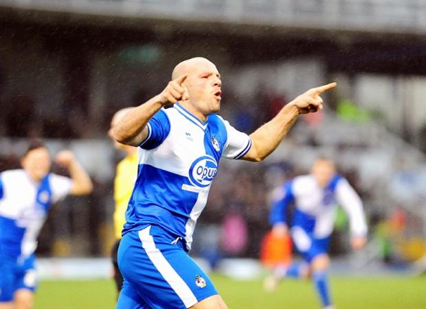 Guy Branston salutes his opening goal for Bristol Rovers against City