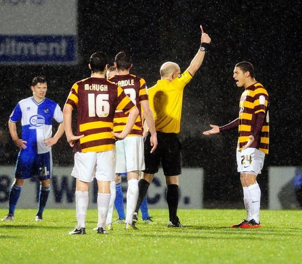 EXONERATED: Nathan Doyle, right, is determined to help the Bantams reach the FA Cup third round against Brentford at Valley Parade tonight after admitting relief at his red card being rescinded