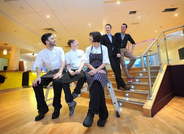 Manager Tony Riley and Alistair Griffin with chefs Ben Davy, Joe Pratt and Rebecca Topps