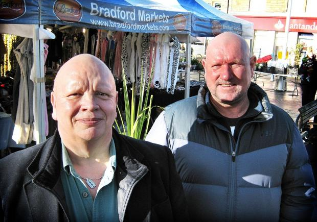 Bingley Chamber of Trade and Commerce chairman Howard Martin (left) with market trader Dean McNally