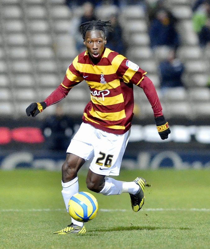 Bantams loan winger Blair Turgott on the ball during his debut against Brentford