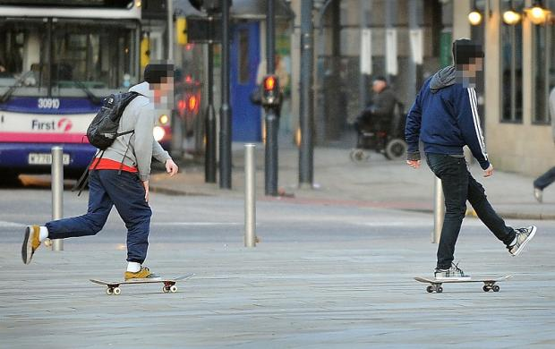 Bradford Telegraph and Argus: Skateboarders in Centenary Square on Friday