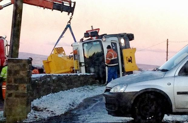 The overturned gritter. Picture by reader Marc Helliwell