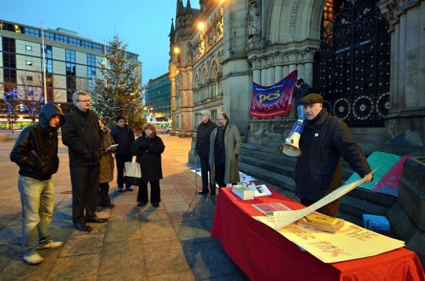 Bradford People's Coalition Against the Cuts (BPCAC) gathered outsude City Hall last night