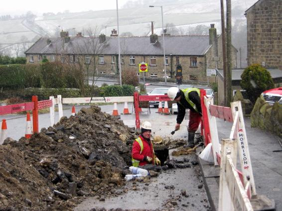 Burst water pipe turns Haworth road into 'freezing river'
