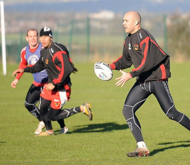 Adrian Purtell, pictured in pre-season training, can play competitive rugby again from March