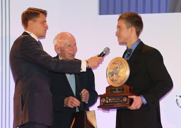 Bradford Telegraph and Argus: A proud Jack Hawksworth is quizzed on his season by BBC presenter Jake Humphrey after receiving the Henry Surtees Award by John Surtees OBE