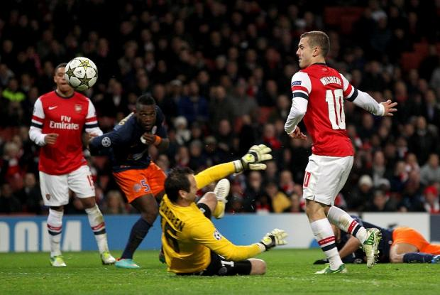 Jack Wilshere scores for Arsenal in the Champions League match against Montpellier. The 2006 finalists and football aristocrats will swap top European competition for a crack at League Two City on Tuesday
