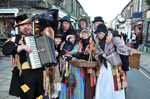 the Penny Plain street theatre group from Grassington entertain at the Otley Victorian Fair