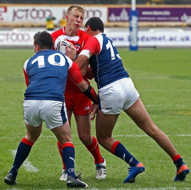 Bradford Bulls' Alex Mellor, pictured playing for England in their youth test in 2011 against France at Odsal, has been promoted to the England Academy squad. Picture: www.footballcaughtinaction.co.uk