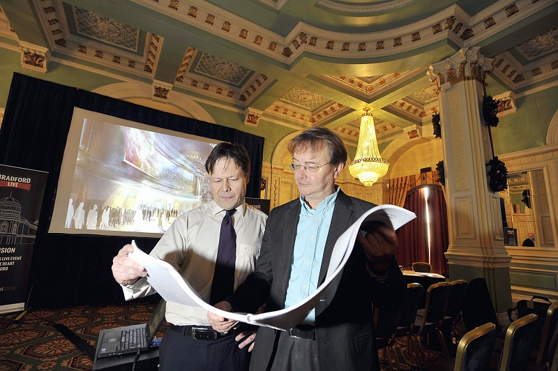 Lee Craven (left) and Tim Ronalds view the plans for the former Odeon Cinema in Bradford