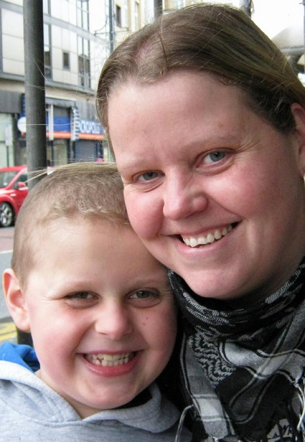 Mature nursing student Jenny Birkett, 32, of Rooley Lane, with son Joshua, ten