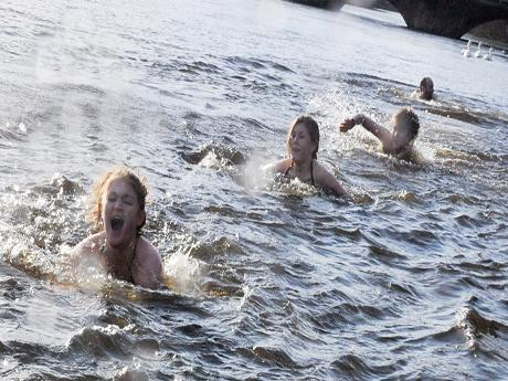 Brave swimmers in Otley