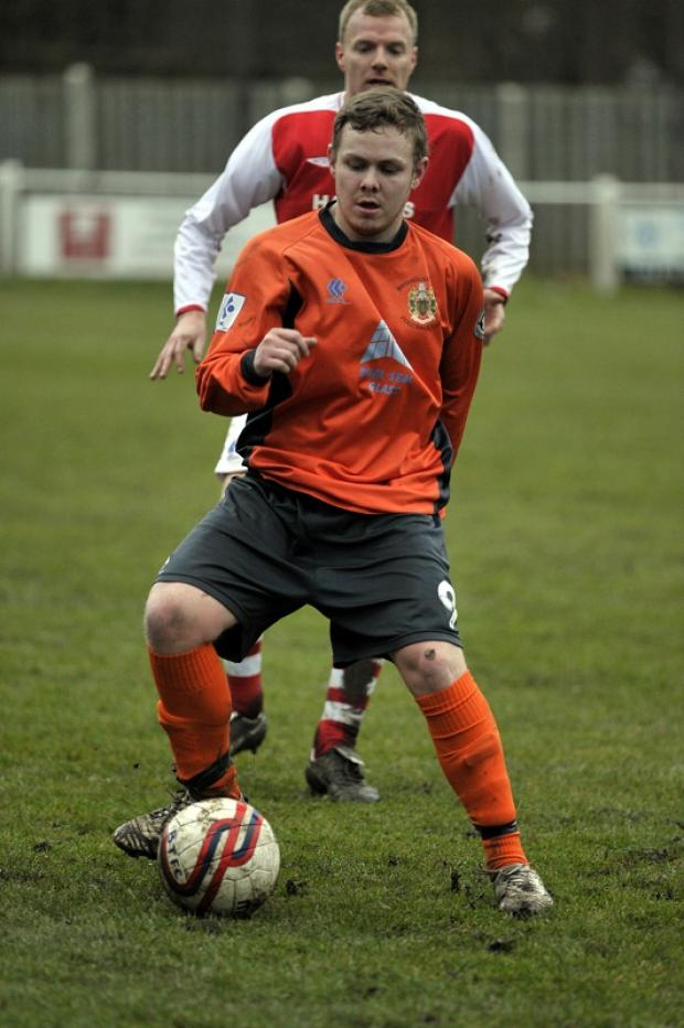Former Brighouse Town striker Nathan Cartman put Harrogate Railway Athletic 2-0 ahead against Farsley today