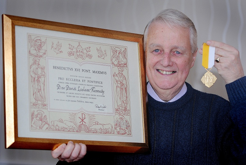 David Kennedy with the award given to him by the Pope for his service to the church