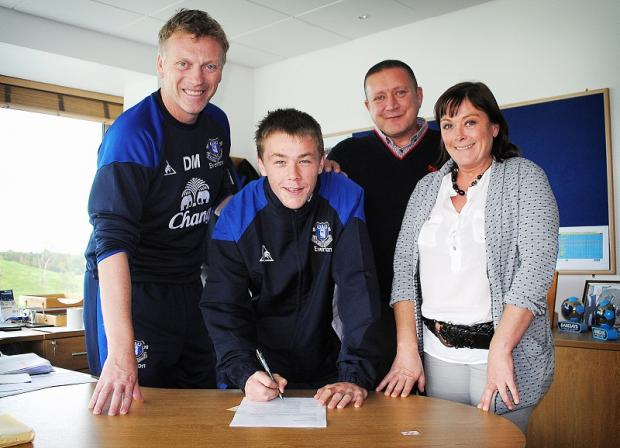 George Green with Everton boss David Moyes when he first signed for the Toffees from City