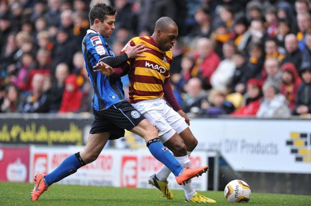 Bradford Telegraph and Argus: Kyel Reid, pictured right in action against Rochdale, is relishing City's trip to Underhill