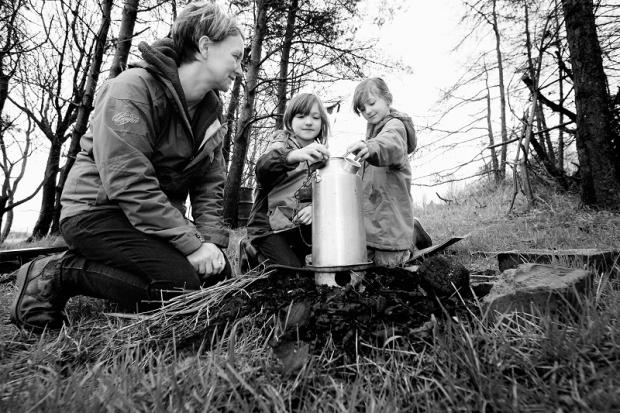 Outdoor learning practitioner Annie Berrington with her daughters Daisy, 10, and Bea, seven