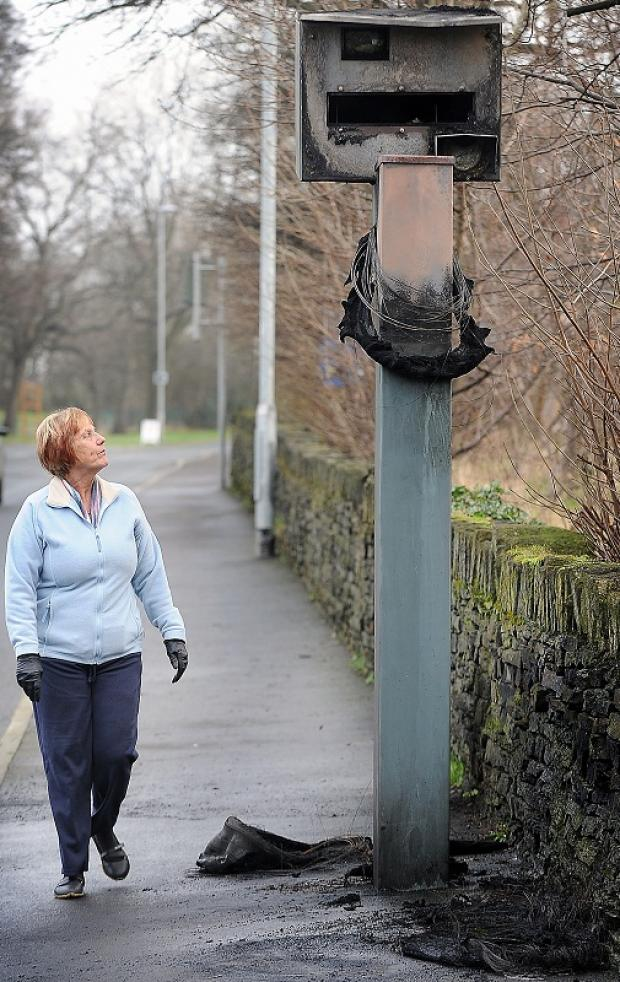 The vandalised speed camera in Spen Lane, Gomersal