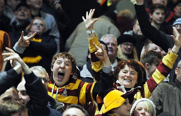 Bradford City fans show their joy at victory over Aston Villa