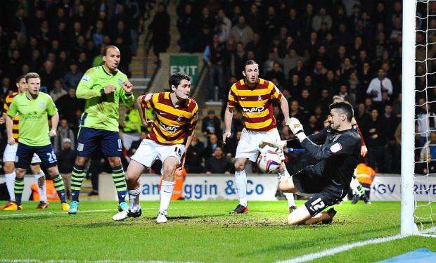 Matt Duke saves again against Villa as City goal heroes Carl McHugh and Rory McArdle look on
