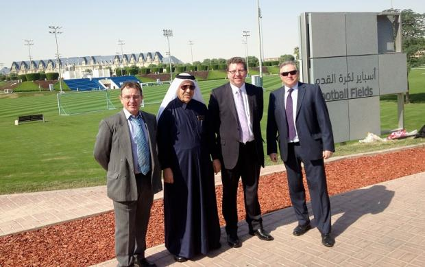 Pictured at the Aspire sports facility in Qatar are, from left, Victor Burton, acting head of Bradford College's Business School, Mr Al-Mulla, head of protocol for the Prime Minister of Qatar, MP Gerry Sutcliffe and Ronnie Todd, Bradford College's pro