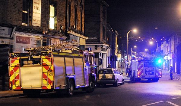Fire engines at the scene of the blaze in Brighouse tonight
