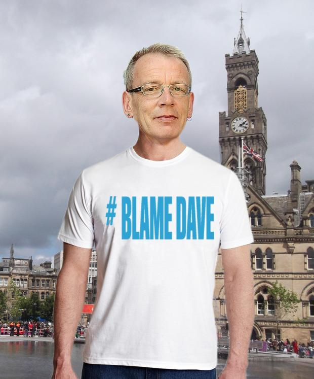 IT'S ALL MY FAULT (NOT)!: An artist's impression of how Councillor Dave Green could look if he adopted a '#BlameDave' T-shirt for charity