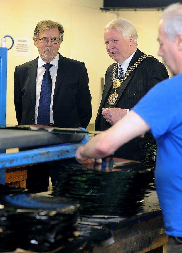 Lord Mayor, Coun Dale Smith, is shown around by Alan Roper