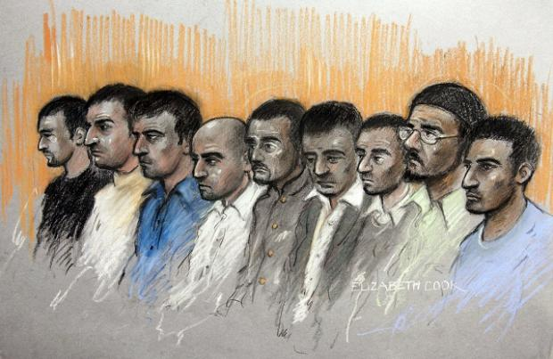 An artist's impression of the nine men facing charges in Oxford in relation to abusing young girls