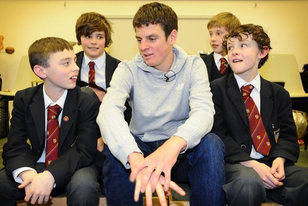 Jonny Brownlee dropped into his old school to meet and talk with pupils and staff