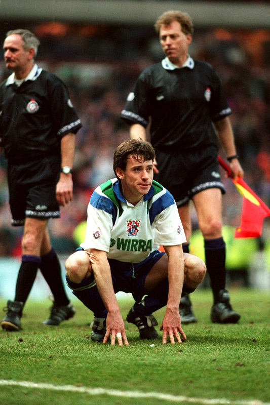 Ian Nolan cuts a forlorn figure after missing the decisive penalty for Tranmere in their sudden death shoot-out against Aston Villa in the semi-final of the 1994 League Cup at Villa Park