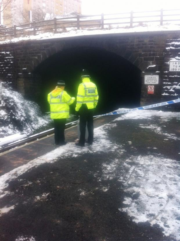 Police next to the cordon at Ingrow rail station. Photo taken by Chris Maguire
