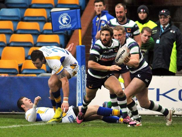 Jarrod Sammut claims one of his two tries