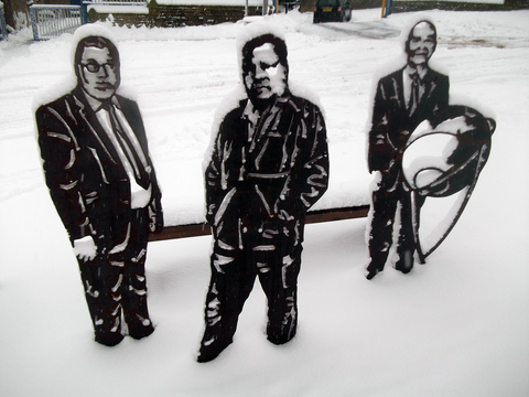 Figures in the snow near Newby Primary School