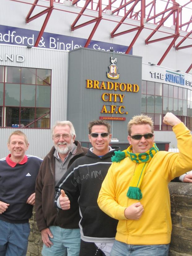 The North Family at Valley Parade in 2006 (from left) John North (uncle), Mick North (Dad), Brett North (brother) and Scott.