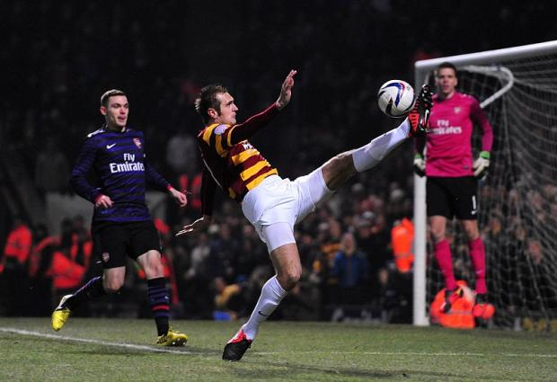 James Hanson, pictured, will resume his partnership tonight with Nahki Wells which proved such a threat at Valley Parade