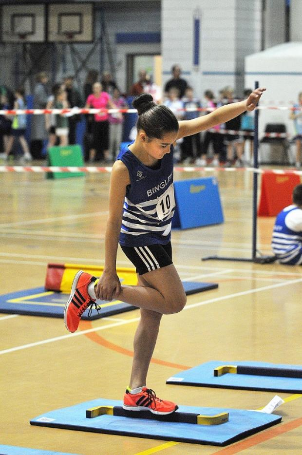 Sandal Primary School's Rhea Southcott won the under-13 girls' six-lap race at the West Yorkshire Sportshall Athletic Trials