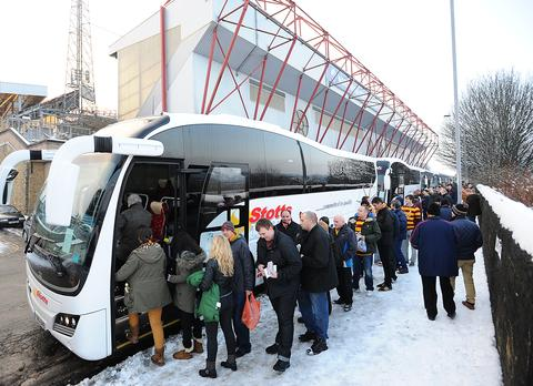 City fans boarding the coaches at Valley Parade