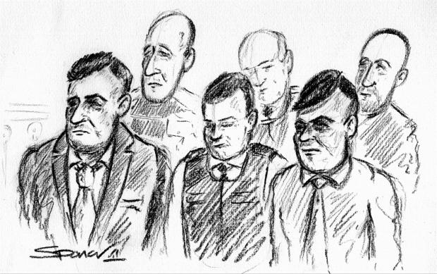 A court sketch showing Bilal Hussain (front row, left) and Shazad Rehman (front row, right)