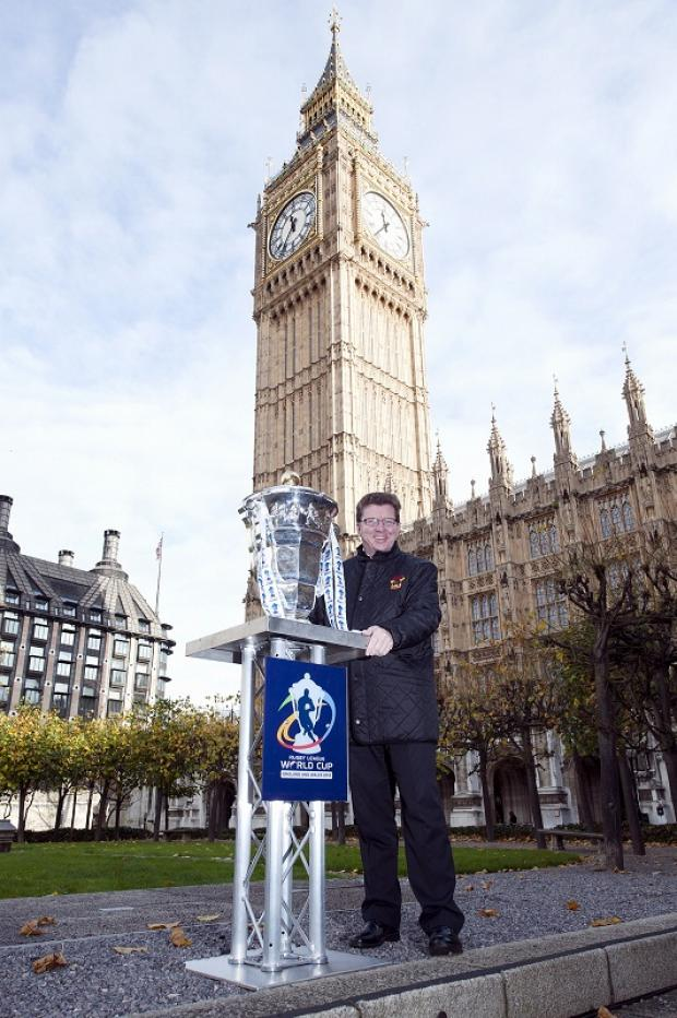 Gerry Sutcliffe with the Rugby League World Cup trophy outside Westminster